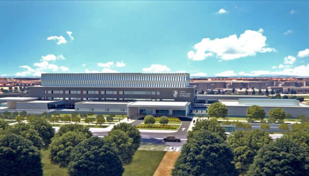 Recreación del exterior del nuevo edificio de la Clínica Universidad de Navarra en Madrid.