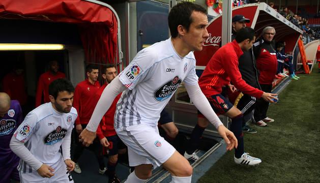 David López, en el El Sadar con la camiseta del Lugo.