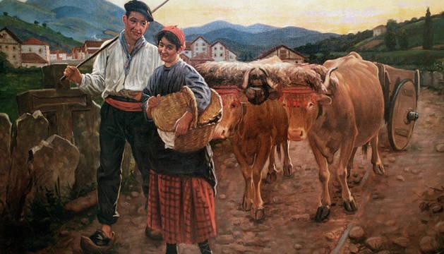 La yunta, el cuadro que Ciga pintó en Elizondo y que representa a su mujer y a su cuñado, Eulalia y Agustín Ariztia.