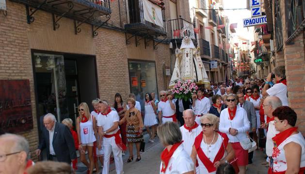Procesión de la virgen de la Merced en las fiestas de San Miguel 2016.