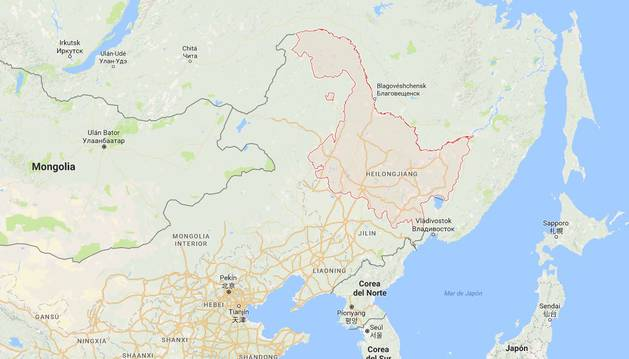 Provincia de Heilongjiang (noreste de China), donde ha tenido lugar el suceso.