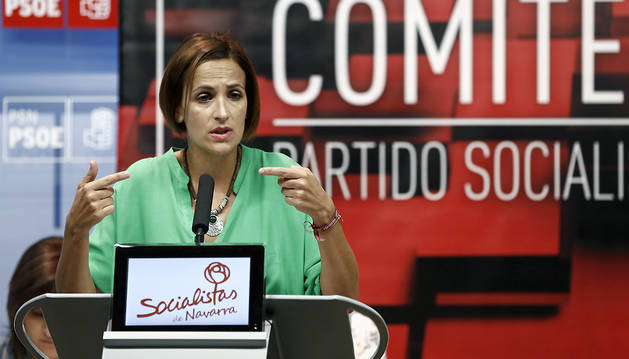 La secretaria general del PSN, María Chivite, durante su intervención en el Comité Regional del partido este sábado.