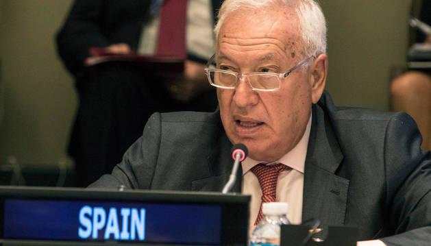 El ministro de asuntos exteriores, José Manuel García Margallo, en su participación durante la conferencia organizada por el Grupo de Amigos de la Alianza de las Civilizaciones, que se celebra en Nueva York.
