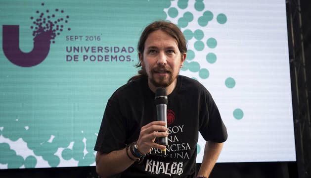 Pablo Iglesias durante la clausura de la Universidad de Podemos en la Universidad Complutense de Madrid.