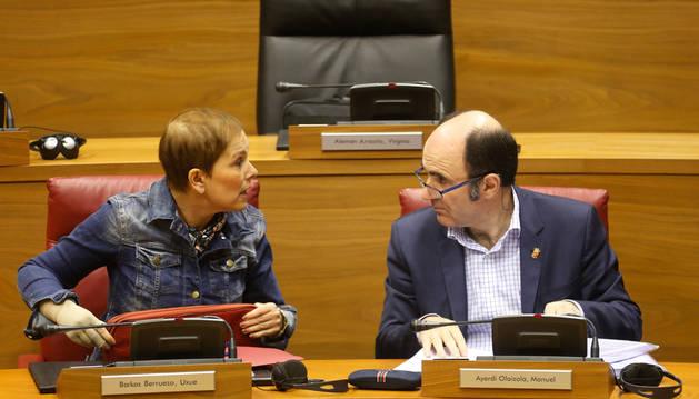 Uxue Barkos y Manu Ayerdi, en un pleno del Parlamento.