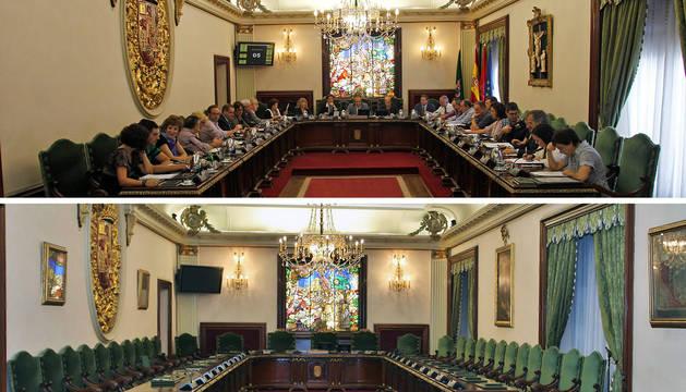 Arriba, el salón antes de los cambios del actual Gobierno municipal. Debajo, el salón de plenos hoy en día.