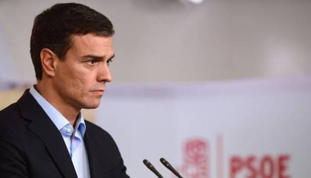 Pedro Sánchez, este lunes en la sede de Ferraz.