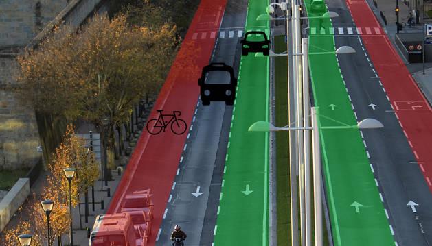 Los tres carriles de la avenida del Ejército. El plan dejará para coches los pegados a la mediana.