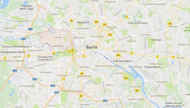 Localización del barrio berlinés de Moabit.