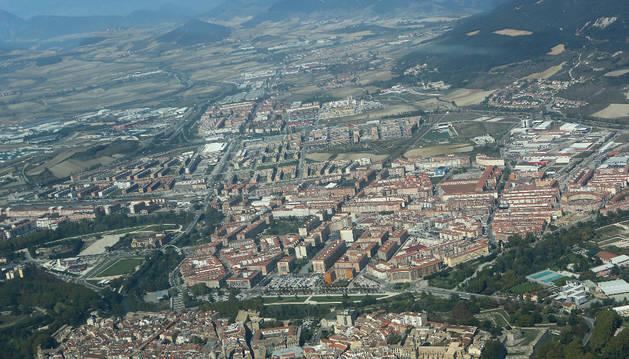 Vista área del barrio de la Rochapea, lugar donde se produjo el robo.