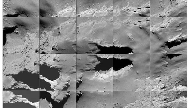Secuencia de imágenes captadas por el Rosetta durante el descenso final del cometa 67P Churyumov-Gerasimenko.