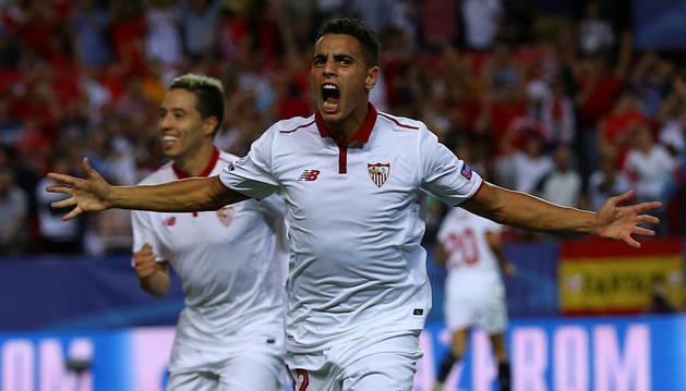 El sevillista Wissam Ben Yedder celebra el gol marcado al Olympique de Lyon esta semana