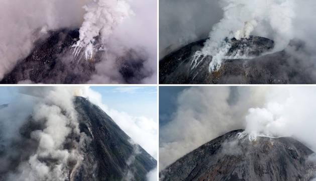 Combo de imágenes del volcán de Colima en erupción.