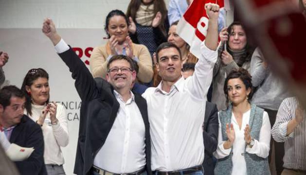 Ximo Puig y Pedro Sánchez, en febrero de 2015.