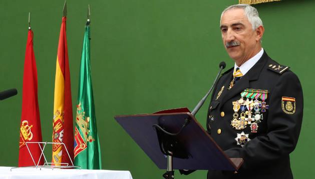El jefe de la Policía Nacional de Navarra, Daniel Rodríguez, en la celebración del patrón de la Policía Nacional.