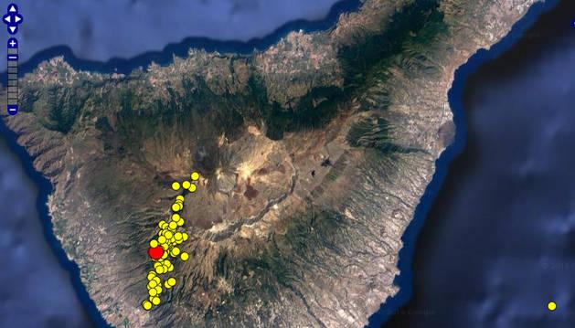 Distribución de los epicentros de los sismos localizados.