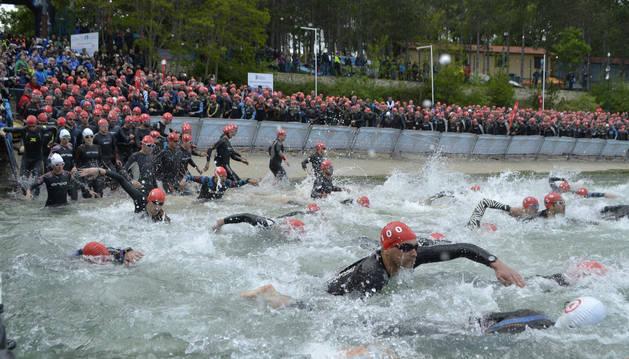 Imagen de la última edición del Half Triathlon en su etapa de Pamplona