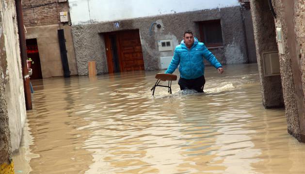 Imagen de las inundaciones en Tudela por la crecida del río Ebro en febrero de 2015.