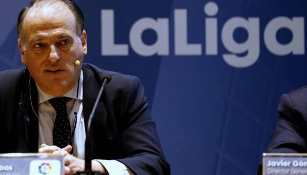 Imagen de Javier Tebas, durante la presentación del Informe Económico del Fútbol Profesional 2015.