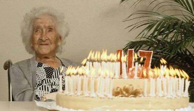 Imagen de la francesa Jeanne Calment, que murió en 1997 con 122 años.