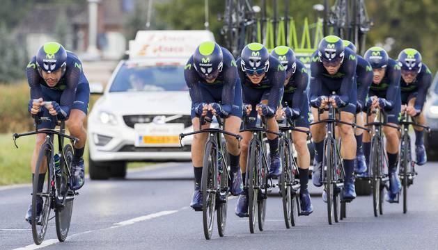 El Movistar team, en la contrarreloj por equipos de la pasada edición del Eneco Tour.