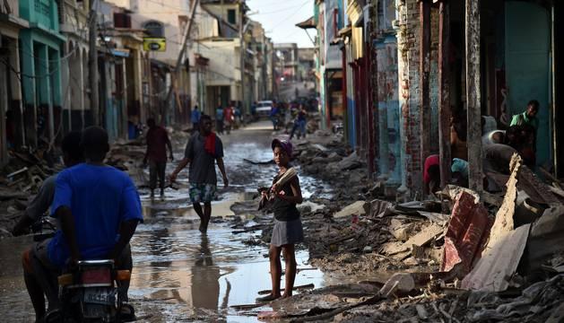 Destrucción del huracán Matthew en Haití