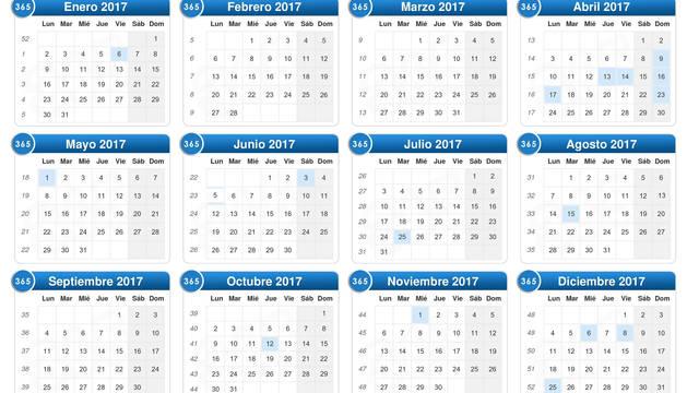El calendario laboral para 2017 recoge 12 días festivos, 9 comunes en toda España