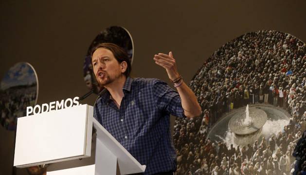 El secretario general de Podemos, Pablo Iglesias, durante su intervención en el encuentro con los representantes de los círculos del partido de Madrid.