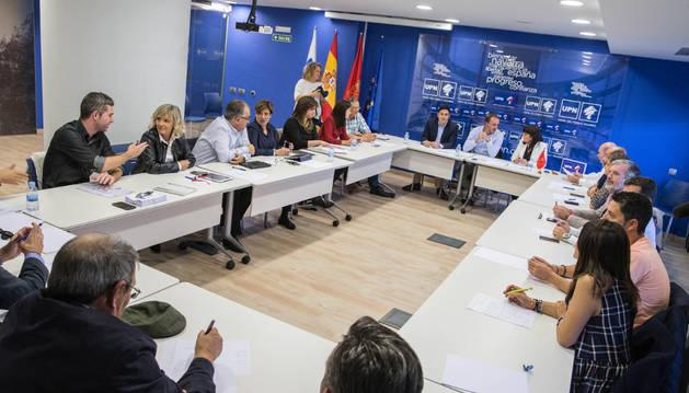 Imagen de la reunión del comité ejecutivo de UPN que se celebró ayer en Tudela.