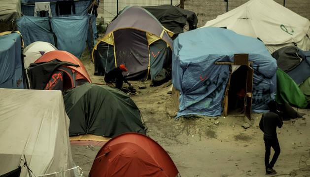 Imagen del campo de refugiados de Calais.