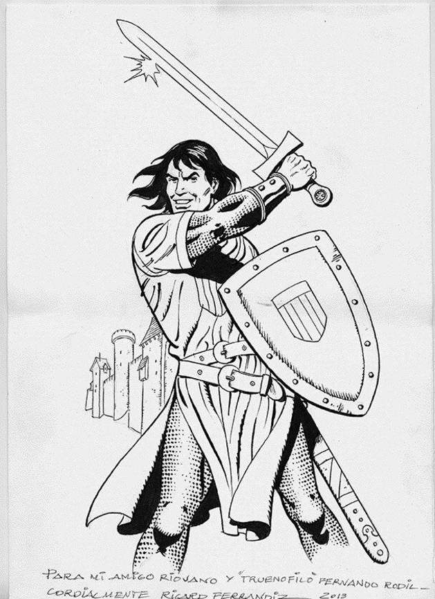 Fotografía facilitada por Acción Cultural Española de uno de los dibujos que se podrán ver en la exposición 'El Capitán Trueno. Tras los pasos del héroe'.
