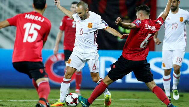 Andrés Iniesta durante el partido del domingo entre Albania y España