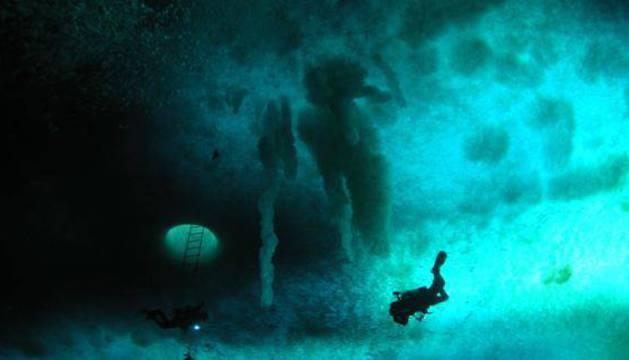 Buzos en el océano antártico