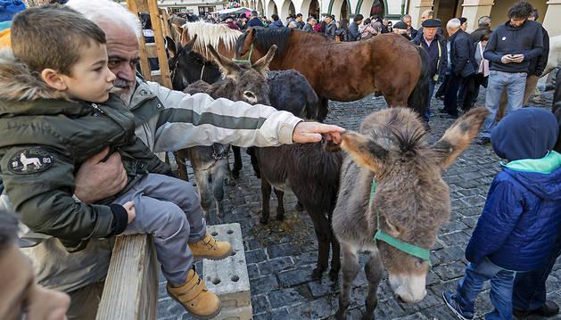 La feria de ganado de San Andrés, en una imagen de la edición del año pasado en la plaza de Santiago.