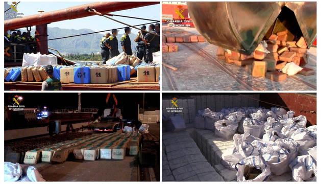 Imagen de una intervención en aguas del Mediterráneo de cerca de veinte toneladas de hachís a bordo de un buque con destino a Libia.