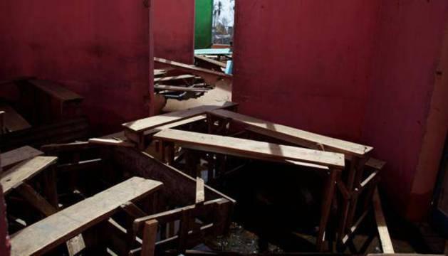 Un colegio destruido en Haiti a causa del huracán Matthew.