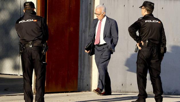 Alfonso García Pozuelo, expropietario de Constructora Hispánica, en la Audiencia Nacional en San Fernando de Henares, donde ha prestado declaración.