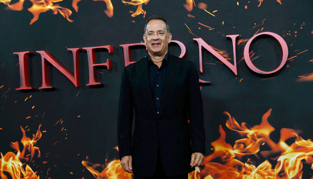 El actor Tom Hanks en la presentación de 'Inferno' en Londres.