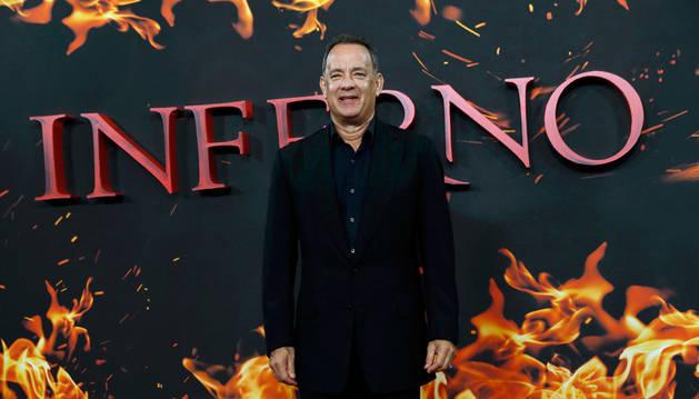 El actor Tom Hanks en la presentación de 'Inferno' en Londres.