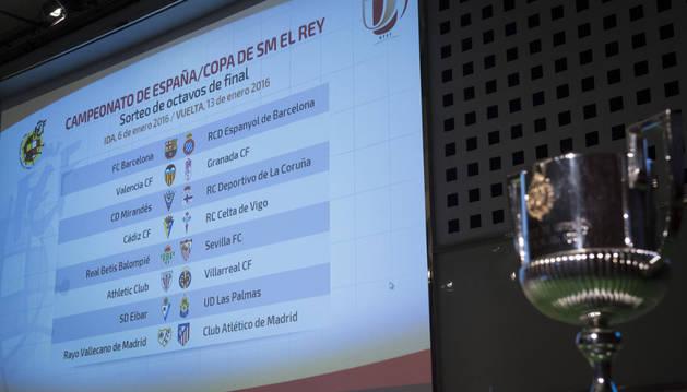 Imagen de la Copa junto al panel del sorteo del año pasado