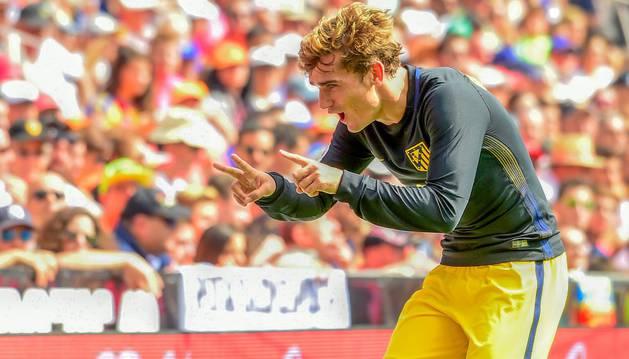 Antoine Griezmann celebra el gol marcado en la jornada pasada al Valencia