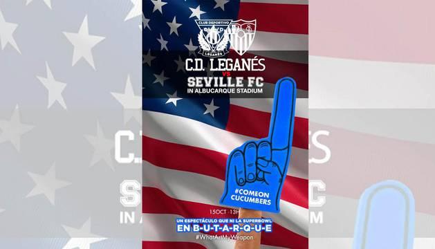 Imagen del cartel creado por el club pepinero como previa del Leganés-Sevilla