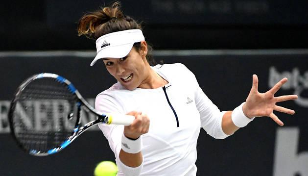 Imagen de Garbiñe Muguruza durante un partido anterior del torneo de Linz.