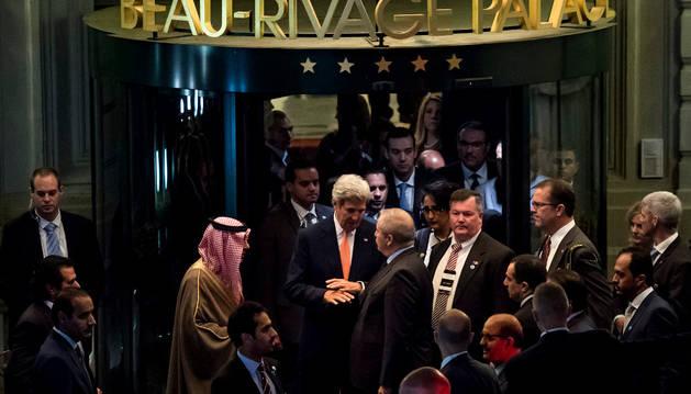 Los máximos responsables diplomáticos que acudieron a la reunión en Lausana, Suiza.