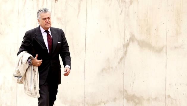El extesorero del PP Luis Bárcenas, a su llegada a la Audiencia Nacional en San Fernando de Henares para declarar.