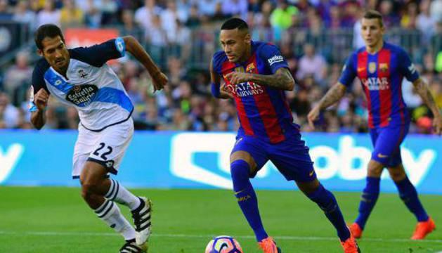 Neymar, en el partido contra el Deportivo.