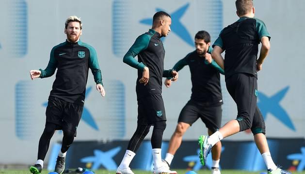 Messi, Neymar y Luis Suárez durante un entrenamiento en el Joan Gamper
