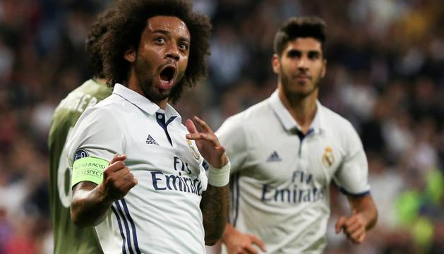 Marcelo celebra el segundo gol del Real Madrid.