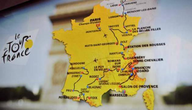 El mapa del Tour 2017.