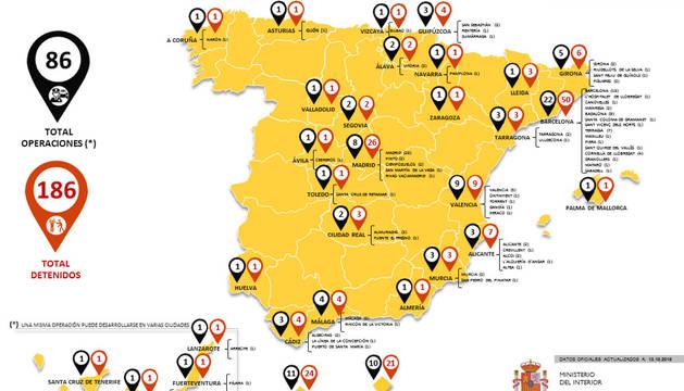 Mapa con el número de operaciones y de detenidos yihadistas en España desde 2012.